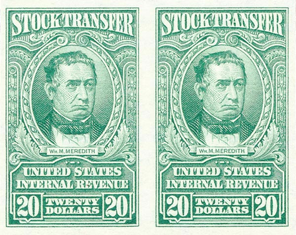 1940 $20 Stock Transfer Stamp, bright green