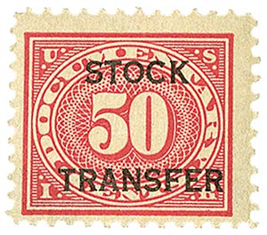 1918-22 50c Stock Transfer Stamp, carmine rose, horizontal overprint, perf 11