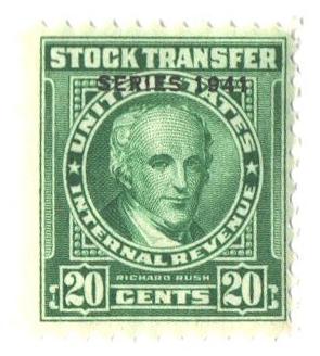 1941 20c Stock Transfer Stamp, bright green, watermark, perf 11