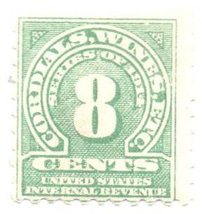 1914 8c grn,sl wmk, offset, perf 10
