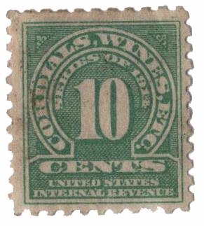 1914 10c grn,sl wmk, offset, perf 10