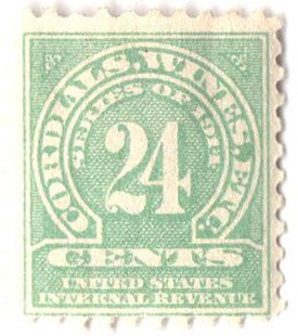 1914 24c grn,sl wmk, offset, perf 10
