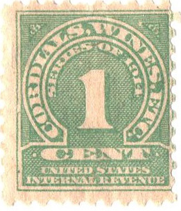 1914 1c grn, dl wmk, perf 10