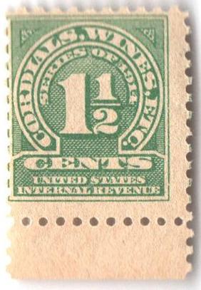 1914 11/2c grn,dl wmk, perf 10
