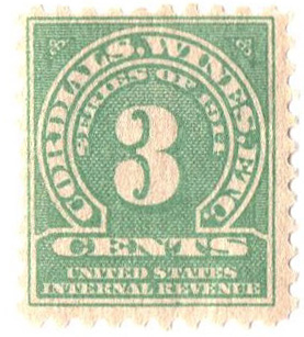 1914 3c grn, dl wmk, perf 10