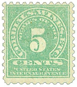 1914 5c grn, dl wmk, perf 10