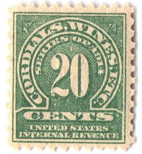1914 20c grn, dl wmk, perf 10