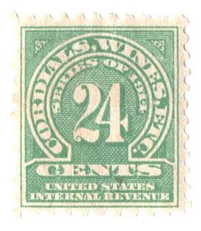 1914 24c grn, dl wmk, perf 10