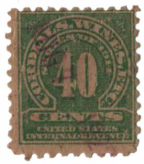 1914 40c grn, dl wmk, perf 10