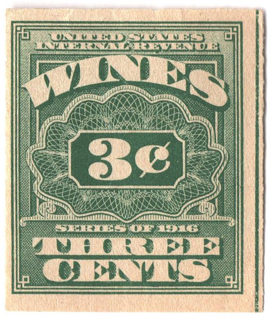 1916 3c grn,roul 31/2, dl wmk, offset