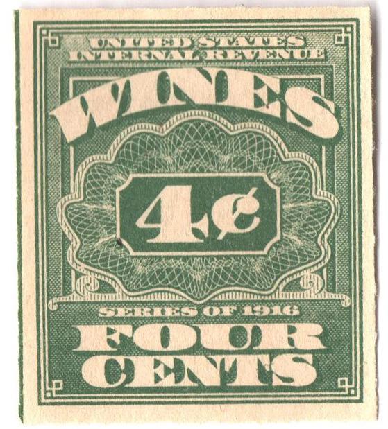 1916 4c grn,roul 31/2, dl wmk, offset