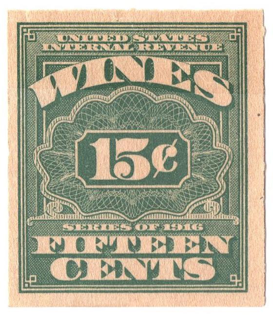 1916 15c grn,roul 31/2,dl wmk, offset