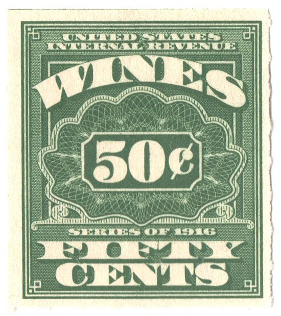 1916 50c grn,roul 31/2,dl wmk, offset