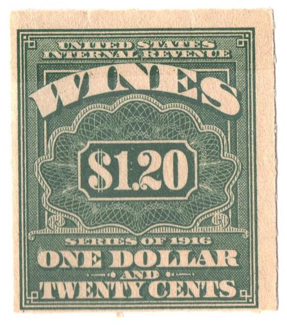 1916 $1.20 grn,roul 31/2,dl wmk, offset