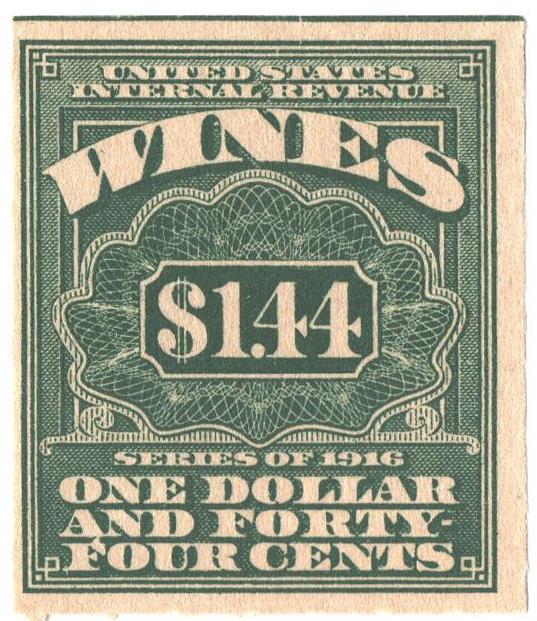 1916 $1.44 grn,roul 31/2,dl wmk, offset