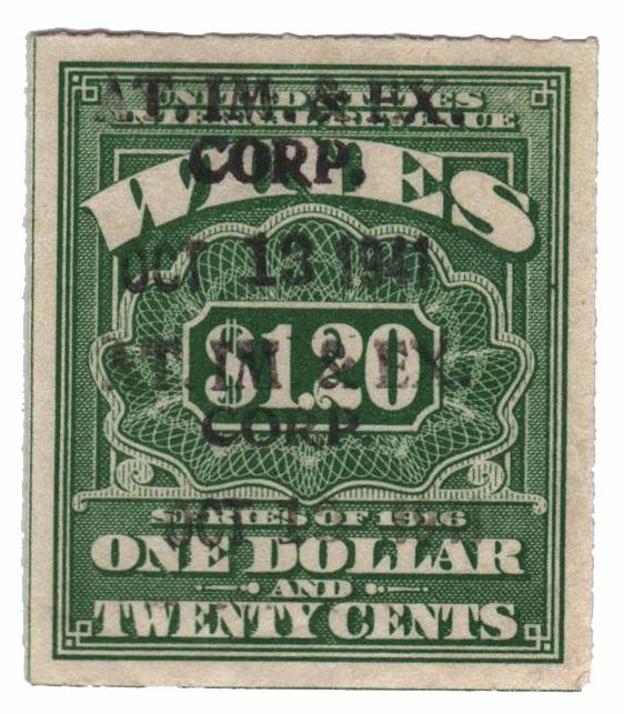 1933 $1.20 lt grn,roul 7,dl wmk,offset