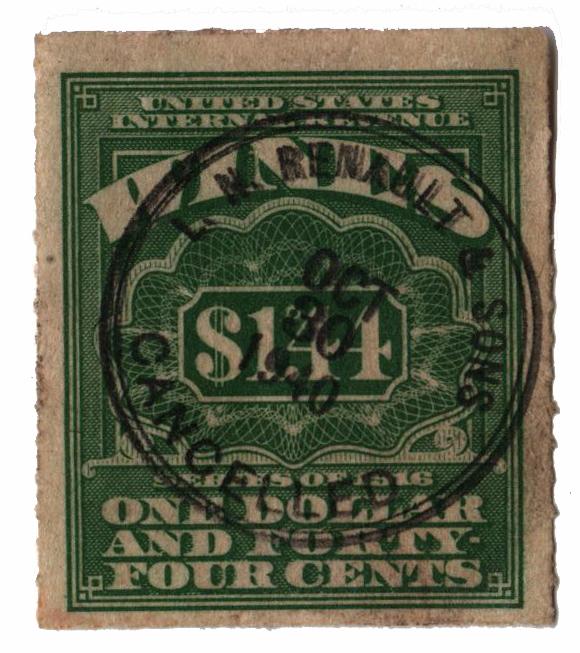 1933 $1.44 lt grn,roul 7,dl wmk,offset