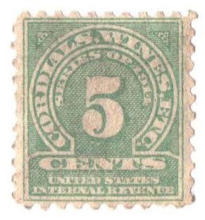 1914 5c grn,sl wmk, offset, perf 10