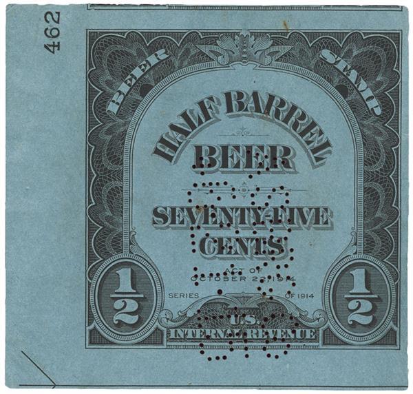 1914 75c Beer Tax Stamp - black, engraved., watermarked