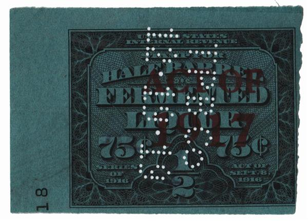 1917 $1.50 Beer Tax Stamp - on #REA116, type C