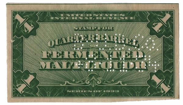 1933 ¼ bbl. Beer Tax Stamp - green