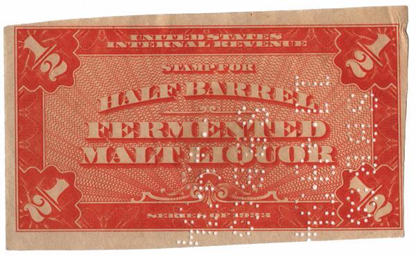 1933 ½ bbl. Beer Tax Stamp - brown orange, entire stamp