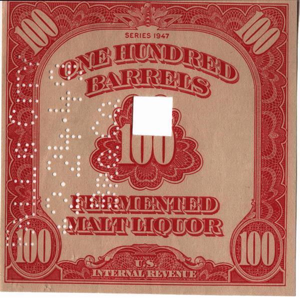1947 100 bbl. Beer Tax Stamp - carmine, cutout center