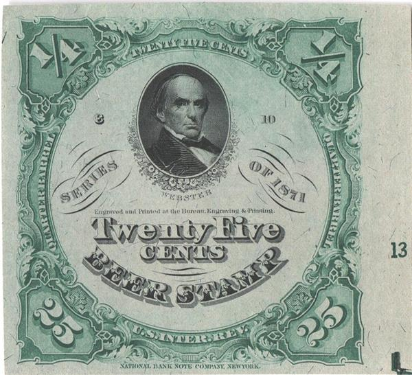 1871 25c Beer Tax Stamp - green, gray silk paper