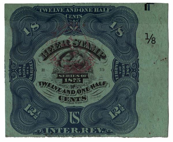 1875 12½c Beer Tax Stamp - blue, typo. & engraved