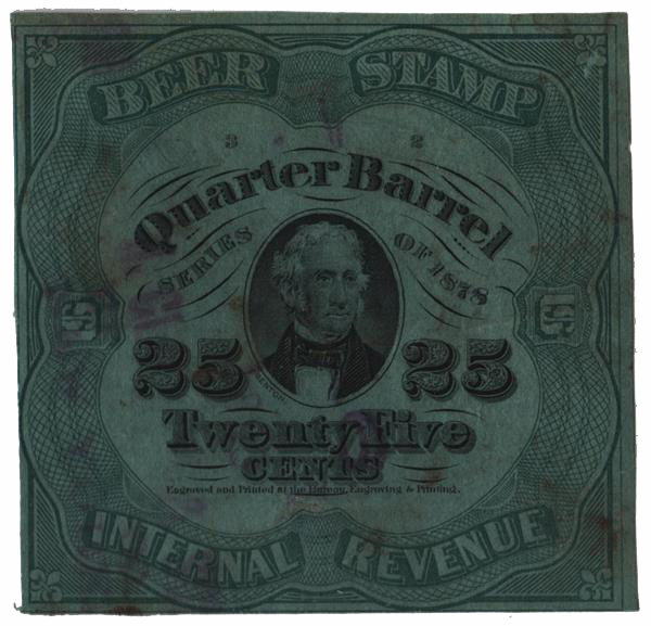 1878 25c Beer Tax Stamp - green, typo. & engraved