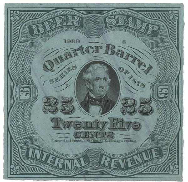 1878 25c Beer Tax Stamp - green, light blue paper