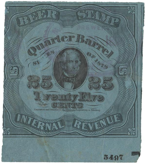 1878 25c Beer Tax Stamp - green, blue paper