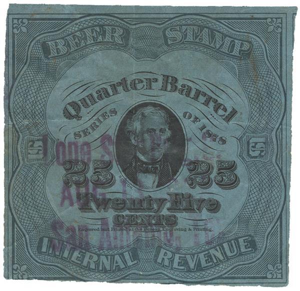 1878 25c Beer Tax Stamp - green, dark blue paper