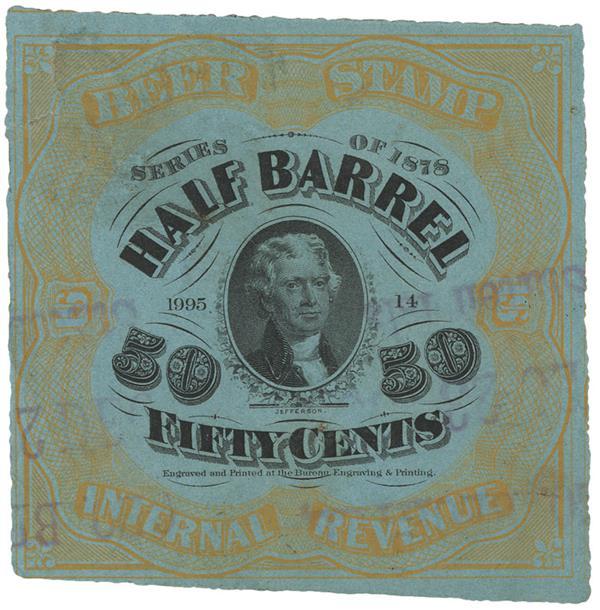 1878 50c Beer Tax Stamp - orange, light blue paper