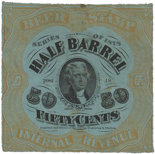 1878 50c Beer Tax Stamp - orange, blue paper