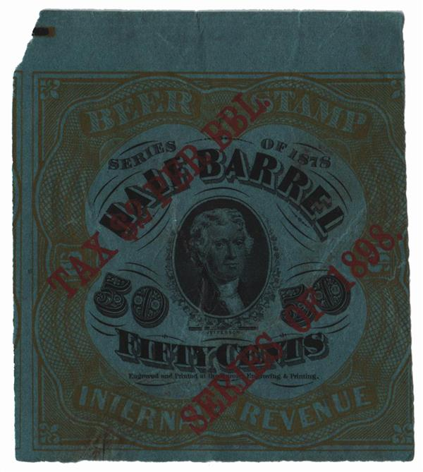 1898 $1 Beer Tax Stamp - on 50c #REA41f, type B
