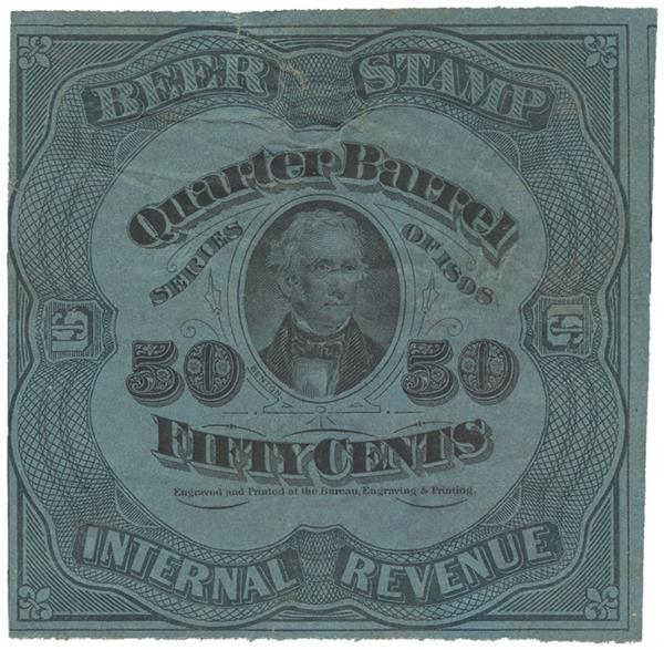 1898 50c Beer Tax Stamp - green, dark blue paper