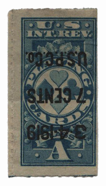 1918 7c blue, private roulette 91/2