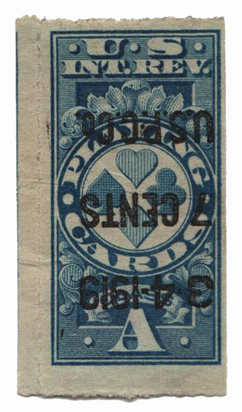 1918 7c blue, Inverted surcharge