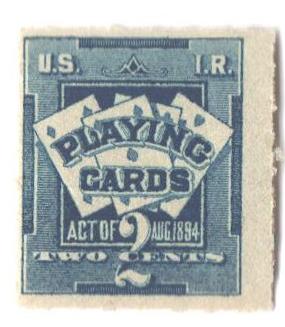 1896-99 2c bl, dl wmk, roul 51/2, 7