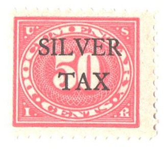 1934 50c Silver Tax, carmine rose, perf 11