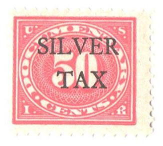 1934 50c Silver Tax, carmine rose, perf 11