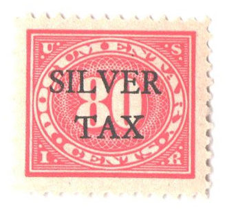 1934 80c Silver Tax, carmine rose, perf 11