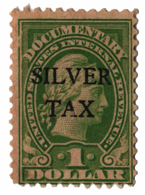 1934 $1 Silver Tax, green, perf 11