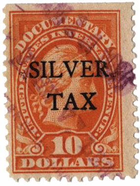 1934 $10 Silver Tax, orange, perf 11