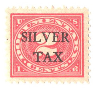 1934 2c Silver Tax, carmine rose, perf 11