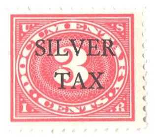 1934 3c Silver Tax, carmine rose, perf 11