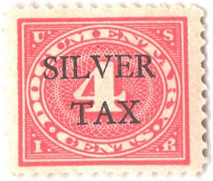 1934 4c Silver Tax, carmine rose, perf 11
