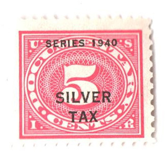 1940 5c Silver Tax, rose pink, perf 11