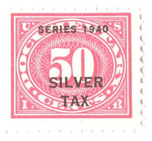 1940 50c Silver Tax, rose pink, perf 11